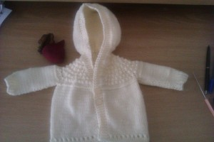 This is also knitted top down and ag its so small.  Also a very easy project