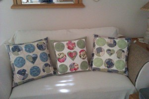 Three pillows from left to right...Jossy Linde, Dianne de Freitas and yours trully..