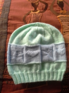 2015-40 mint and blue baby hat